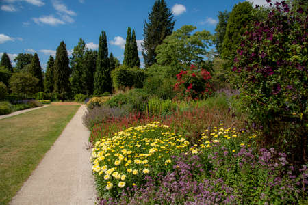 Hampshire, England, UK,. 2020. Herbacous border of mixed flowering plants in an English country garden.