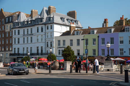 Margate, Kent, England UK. 2020. Old town Margate with colourful housing, cafes and floral decoration.