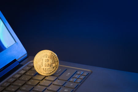 bitcoin standing upright on a laptop keyboard with dark background Stock Photo