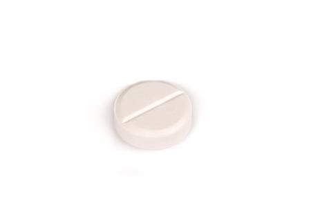 close-up van een witte pil geïsoleerd op een witte backgound.psd Stockfoto