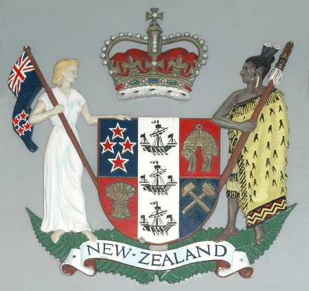 New Zealand Coat of Arms at Shantytown Post Office, West Coast, South Island, New Zealand Stock Photo - 14915100