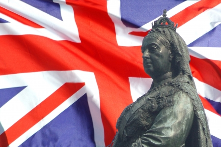 queen victoria: closeup of Union Jack and Queen Victoria