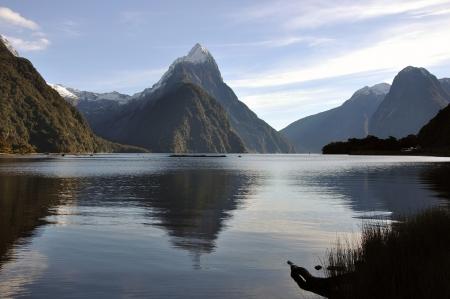 fiordland: Reflection of Mitre Peak, Milford Sound, Fiordland, New Zealand