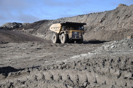 coal truck: Coal truck at Stockton Coal Mine, West Coast, South Island, New Zealand Stock Photo