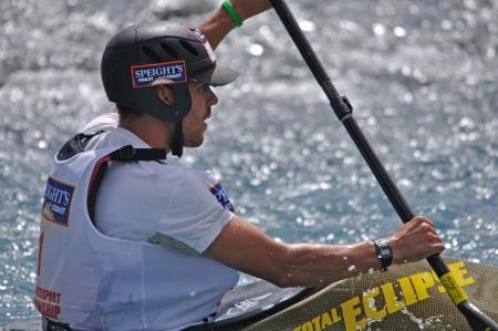 something athletic: Daniel Murtagh competing in the kayaking leg of the Coast to Coast triathlon, West Coast, South Island, New Zealand, 2011