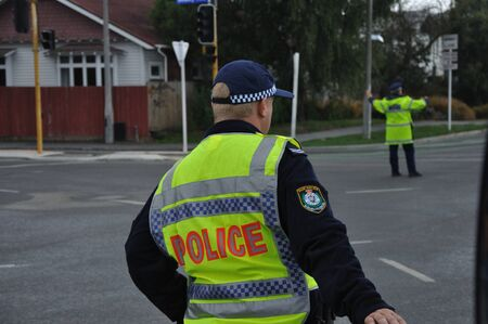Police on point duty after the 6.4 earthquake in Christchurch, South Island, New Zealand, 22-2-2011 Stock Photo - 15108548