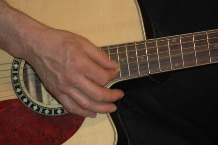 rhythms: closeup of hand strumming on acoustic guitar