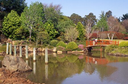 toowoomba: Posts and nikki bridge in Japanese Garden, Toowoomba, Queensland, Australia