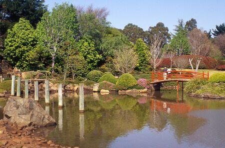 Posts and nikki bridge in Japanese Garden, Toowoomba, Queensland, Australia Stock Photo - 15118266