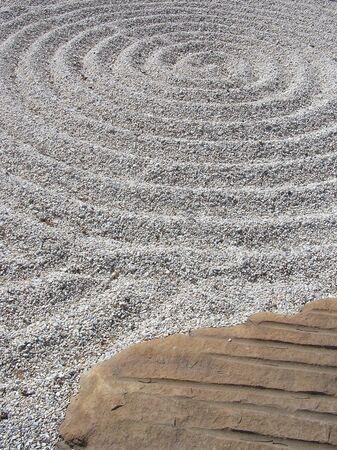 toowoomba: Raked sand in Japanese Garden, Toowoomba, Queensland, Australia Stock Photo