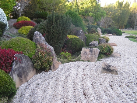 toowoomba: Raked sand in Japanese Garden, Toowoomba, Queensland, Australia Stock Photo