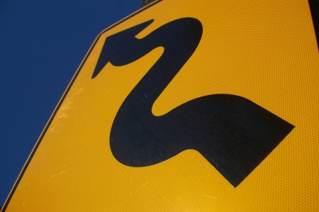 winding: signage for a winding road