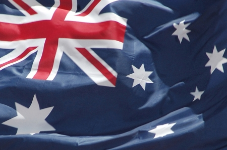 Closeup of Australian flag blowing in the wind Stock Photo