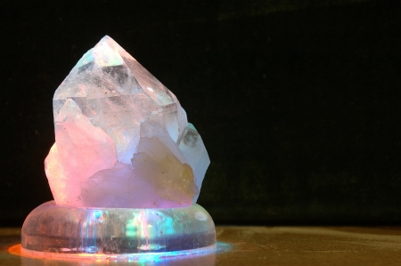 spiritual energy: backlighting on large crystal Stock Photo