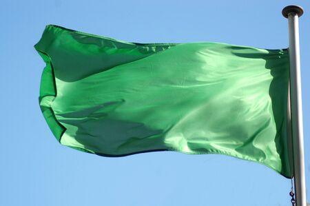 libyan: plain green Libyan flag Stock Photo