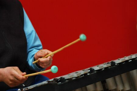 person playing the xylophone during a live performance Stock Photo