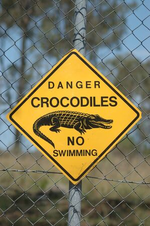 warned: danger sign - crocodiles, Queensland, Australia