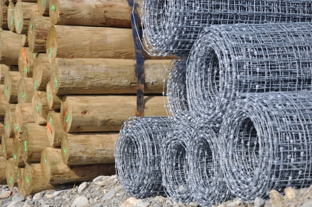 fencing wire: Fence posts and wire awaiting the job, Westland, New Zealand