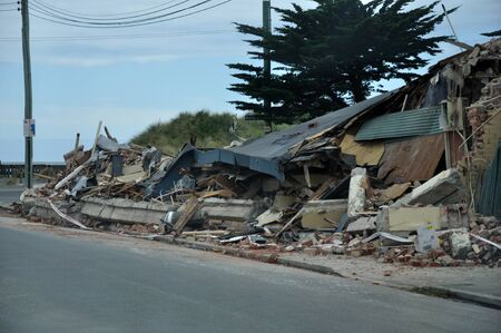 Building flattened by the 6.3 magnitutde earthquake in Christchurch, South Island, New Zealand, 22-2-2011