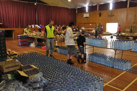Food stockpiled in a school hall for distribution to victims of the 6.4 earthquake in Christchurch, South Island, New Zealand, 22-2-2011 Stock Photo - 15337495