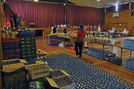 Food stockpiled in a school hall for distribution to victims of the 6.4 earthquake in Christchurch, South Island, New Zealand, 22-2-2011