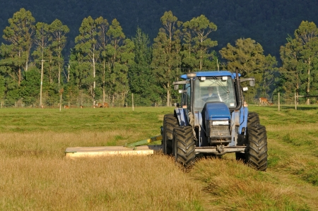 implements: Tractor mowing pasture for silage, West Coast, South Island, New Zealand