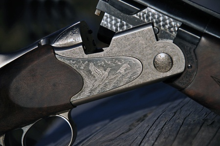 hunters: Detail of breech on 12-gauge shotgun