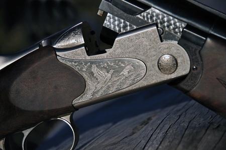breech: Detail of breech on 12-gauge shotgun