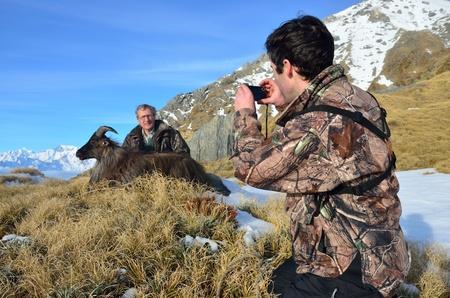 introduced: Una amiga fotograf�a un cazador exitoso con la presentaci�n de cabra del Himalaya, o Tahr, (Hemitragus jemlahicus), South Westland, Isla Sur, Nueva Zelanda, con el Monte Cook en segundo plano.