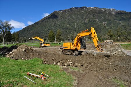Excavators levelling a construction site in Westland Stock Photo - 16382684