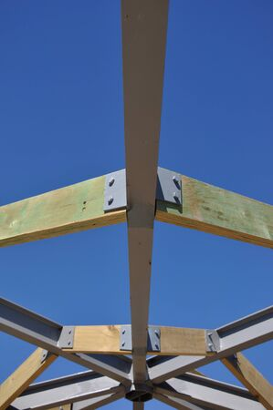 roof framing: background of steel and timber framing in roof of large building