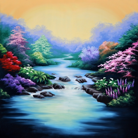 painted theatre backdrop featuring a forest and flowing stream