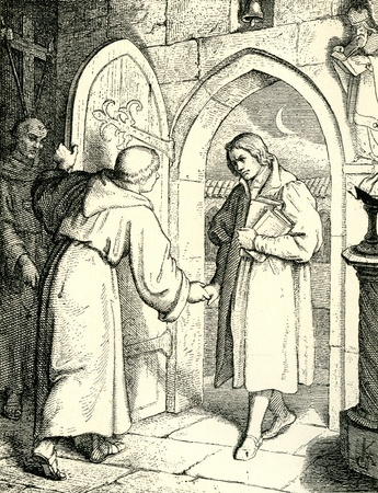 friar: Martin Luther entering the monastery as a novice  Original Illustration from  Martin Luther  by Gustav Freytag, published by The Open Court Publishing Company, 1897 Editorial
