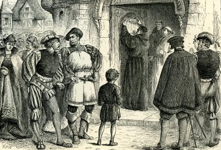 95: Martin Lutero inchioda le sue 95 tesi sulla porta della cattedrale - l'atto che ha iniziato la Riforma Illustrazione originale da Martin Lutero da Gustav Freytag, pubblicato da The Open Court Publishing Company, 1897