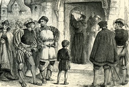 Martin Luther nails up his 95 theses on the cathedral door - the act that started the Reformation  Original Illustration from  Martin Luther  by Gustav Freytag, published by The Open Court Publishing Company, 1897