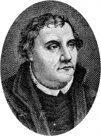 Engraving of Martin Luther, 1483 - 1546, leader of the Reformation in Germany, by an unknown artist, published in  Daniel and the Revelation  by Uriah Smith, Signs Publishing Company Limited, 1909