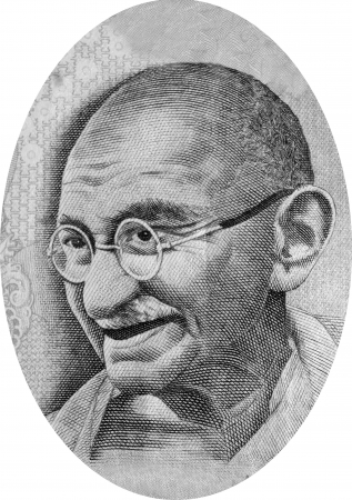 Engraving of Mohandas Karamchand Gandhi  2 October 1869  30 January 1948 , commonly known as Mahatma Gandhi, who was the preeminent leader of Indian nationalism in British-ruled India  Image adapted from Indian currency