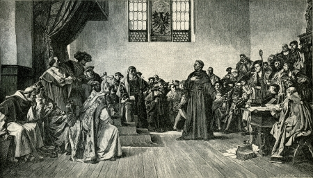 inquisition: Martin Luther before the court at Worms. Original Illustration from Martin Luther by Gustav Freytag, published by The Open Court Publishing Company, 1897 Editorial