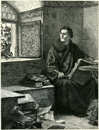 Martin Luther in hiding at Wartburg, where he translated the Bible into German. Original illustration from