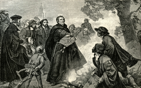 damnation: Martin Luther burns the Papal Bull ordering his excommunciation from the Roman Catholic Church. Original Illustration from Martin Luther by Gustav Freytag, published by The Open Court Publishing Company, 1897