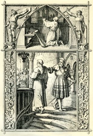 inquisition: Martin Luther praying and preparing himself for his appearance at the Diet of Worms. Original illustration by Gustav Konig, in Martin Luther by Gustav Freytag, published by The Open Court Publishing Company, 1897 Editorial