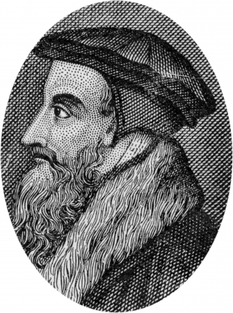 christendom: Engraving of John Calvin, 1509 - 1564, a leader of the Reformation in Europe;  by an unknown artist, published in Daniel and the Revelation by Uriah Smith, Signs Publishing Company Limited, 1909.