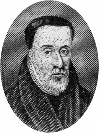 william: Engraving of William Tyndale, 1484 - 1536; English Bible Translator and Reformer, Martyred in Antwerp;by an unknown artist, published in Daniel and the Revelation by Uriah Smith, Signs Publishing Company Limited, 1909.