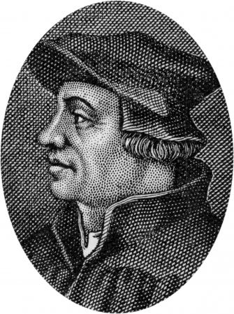 16th century: Engraving of Ulrich Zwingli, Swiss Reformer, 1484 - 1531; by an unknown artist, published in Daniel and the Revelation by Uriah Smith, Signs Publishing Company Limited, 1909.