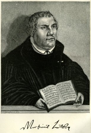 Portrait of Martin Luther, the German Reformer, holding a Bible open at the Epistle to the Romans. Original illustration  in