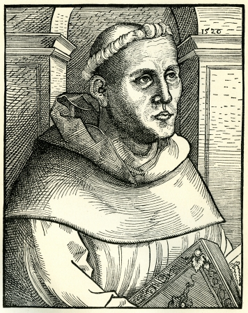 Portrait of Martin Luther as a monk. Original woodcut by Lucas Cranach in 1520, used in Martin Luther by Gustav Freytag, published by The Open Court Publishing Company, 1897