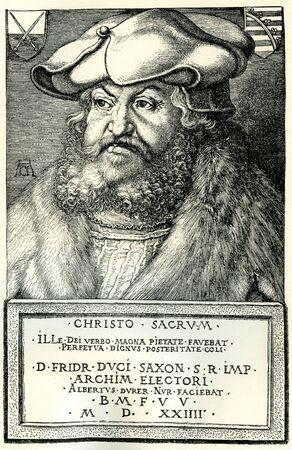 durer: Federico il Saggio, principe elettore di Sassonia, che ha protetto Martin Luther dai papisti durante la Riforma. Da una xilografia di Albrecht Durer nel 1524.
