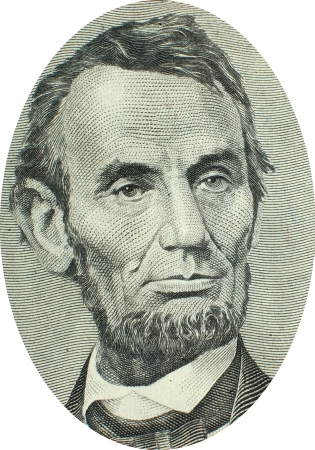 Engraving of Abraham Lincoln  (February 12, 1809 – April 15, 1865), the 16th President of the United States, serving from March 1861 until his assassination in April 1865. Lincoln is revered as the President who freed the slaves during the Civl War. Ima Editorial