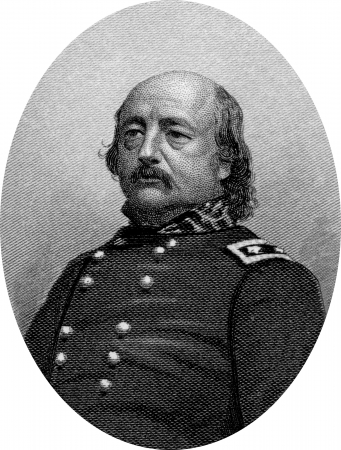 Engraving of Union Major General Benjamin Franklin Butler (November 5, 1818 – January 11, 1893), an American lawyer and politician who sat in the House of Representatives and served as the 33rd Governor of Massachusetts. During the American Civil War, h Stock Photo - 17262605