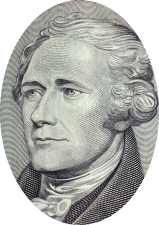 political economist: Engraving of Alexander Hamilton (January 11, 1755 or 1757[1]  – July 12, 1804), a Founding Father, soldier, economist, political philosopher, one of Americas first constitutional lawyers and the first United States Secretary of the Treasury. Image adap Editorial
